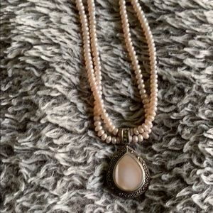 Light pink and marquesite necklace